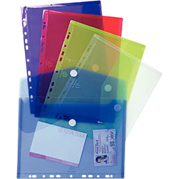 Enveloppes perforées Exacompta -polypropylène 20/100ème - A4 - coloris assortis - paquet de 5 (photo)