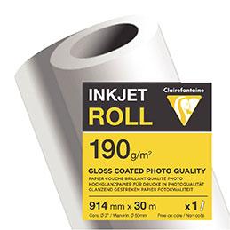 Rouleau papier jet d'encre Clairefontaine - 190 g - 0.914x30m (photo)