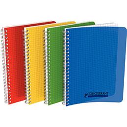 Cahier à reliure intégrale Conquerant - couverture polypropylène - 17x22cm - 100 pages - quadrillé 5x5 - coloris assortis (photo)