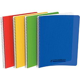 Cahier à reliure intégrale Conquerant - couverture polypropylène - A4 - 180 pages - quadrillé 5x5 - coloris assortis (photo)