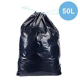 Sacs poubelles à liens coulissant - noir - 50 litres - déchets standards - carton de 100 (photo)