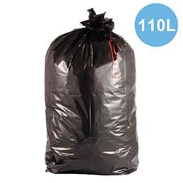 Sacs poubelles noir - 110L - déchets lourds - carton de 200