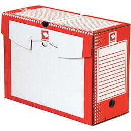 Boîtes à archives - carton rigide - dos 15cm - rouge - paquet de 25