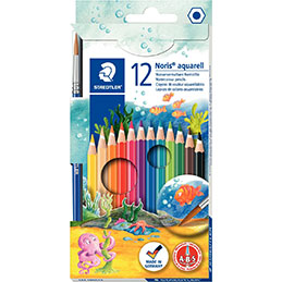 Crayons de couleur Noris Club aquarell  Staedtler - assorties - étui de 12 + 1 pinceau gratuit. (photo)