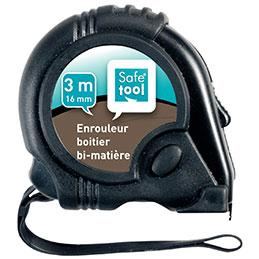 Mètre à ruban Safetool - 3m - boitier en caoutchouc -  Largeur : 16 mm (photo)