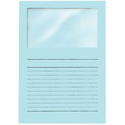 Pochettes coins Exacompta Forever - papier 120 g - format 22x31 cm avec fenêtre cristal 18x10 cm - bleu clair - paquet de 100