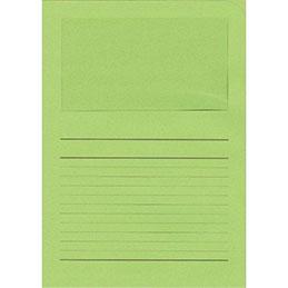 Pochettes coins Exacompta Forever - papier 120 g - format 22x31 cm avec fenêtre cristal 18x10 cm - vert tilleul - paquet de 100