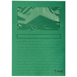 Pochettes coins Exacompta Forever - papier 120 g - format 22x31 cm avec fenêtre cristal 18x10 cm - vert - paquet de 100