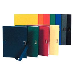 Chemises à dos extensible avec sangle Exacompta - format 24x32 cm - toilée - assortis (rouge, jaune, bleu, vert, mastic) - paquet de 5