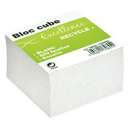 Bloc cube recyclé Green - 9 x 9 x 9 cm - 800 feuilles encollés - blanc (photo)