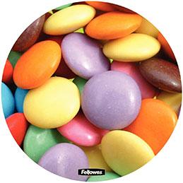 Tapis de souris fellowes rond plastique dur décor bonbon