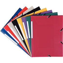 Chemises 3 rabats à élastiques - polypropylène opaque 4/10ème - format 24x32 cm - coloris assortis - carton de 50