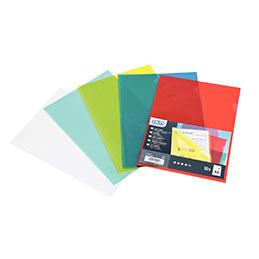 Pochettes coin Elba - PVC lisse 15/100ème - rouge - sachet de 10
