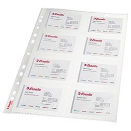 Pochettes perforées pour 160 cartes de visite Esselte - polypropylène A4 - paquet de 10