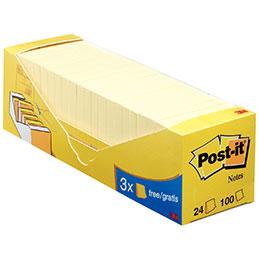 Blocs de 100 feuilles 3M Post-it - 76 x 76 mm - jaune - boîte de 24 dont 3 gratuits. (photo)