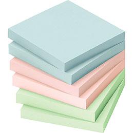 Blocs de notes repositionnables - 75 x 75 mm - 100 feuilles - couleurs pastels assorties - lot de 12 (photo)