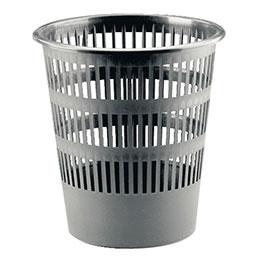 Corbeille à papier plastique ronde ajourée - Faibo -  16L - gris (photo)