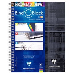 Cahier à reliure intégrale BIND'O BLOCK Clairefontaire - A5+ - 180 pages - quadrillé 5 x 5 (photo)