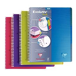 Cahier à reliure intégrale EVOLUTIV'BOOK Intensive + 3 intercalaires en polypropylène repositionnables Clairefontaine - A4+ - 180 pages - quadrillé 5x5 - couleurs assorties (photo)