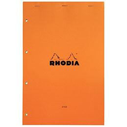 Bloc de bureau RHODIA  Clairefontaine - Format (A4+) : 21x31.8 cm (21x29.7 cm détachées) - 80 feuilles micro-perforées détachables Perforation 4 trous + travers. (photo)