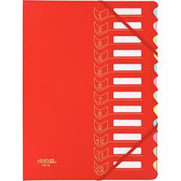 Trieur 12 cases avec élastiques Extendos - polypropylène - rouge (photo)