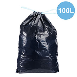 Sacs poubelles à liens coulissant - noir - 100 litres - déchets standards - carton de 100 (photo)