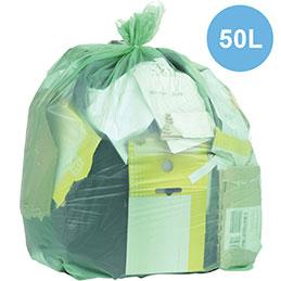 Sacs poubelle biodégradables vert - 50L - carton de 200 (photo)