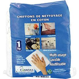 Paquet de chiffons textile COMPAS - blanc - 1kg (photo)