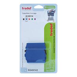 Blister de 3 cassettes d'encrage Trodat 6/4914 bleues (photo)