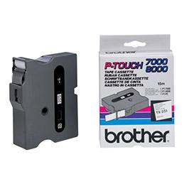 Brother TX251 - Ruban laminé - noir sur blanc - Rouleau (2,4 cm) - pour P-Touch 30, 7000, 8000, PC (photo)