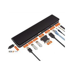 Station d'accueil USB 3.0 double écran HDMI+DVI  LAN Hub Audio lecteur carte SD (photo)