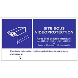 Panneau en PVC pour vitrine de signalisation d une vidéosurveillance (photo)