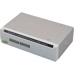 Switch kvm de bureau displayport/usb/audio 2 ports + câbles
