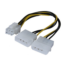 Adaptateur d alimentation Molex vers PCI-E 6 pins - 25 cm (photo)