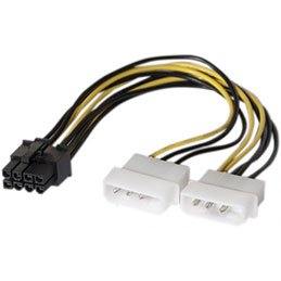 Adaptateur d alimentation Molex vers PCI-E 8 pins - 15 cm (photo)