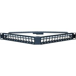 DEXLAN Panneau 1U angulaire 24 ports STP keystone avec supp cables (photo)