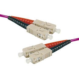 Jarretière optique duplex multimode OM3 50/125 SC-UPC/SC-UPC violet - 1 m