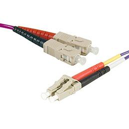 Jarretière optique duplex multimode OM3 50/125 SC-UPC/LC-UPC violet - 10 m
