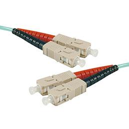 Jarretière optique duplex multimode OM4 50/125 SC-UPC/SC-UPC aqua - 2 m