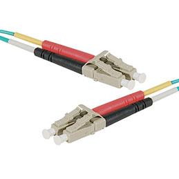 Jarretière optique duplex multimode OM4 50/125 LC-UPC/LC-UPC aqua - 20 m