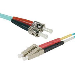 Jarretière optique duplex multimode OM4 50/125 LC-UPC/ST-UPC aqua - 3 m