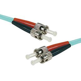 Jarretière optique duplex multimode OM4 50/125 ST-UPC/ST-UPC aqua - 1 m