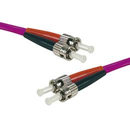 Jarretière optique duplex multimode OM3 50/125 ST-UPC/ST-UPC violet - 1 m