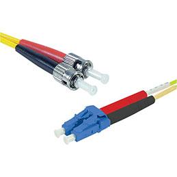 Jarretière optique duplex monomode OS2 9/125 LC-UPC/ST-UPC jaune - 1 m