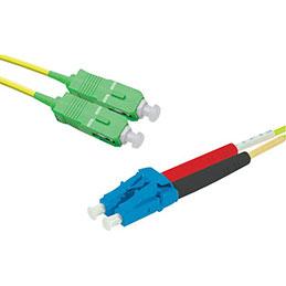 Jarretière optique duplex monomode OS2 9/125 SC-APC/LC-UPC jaune - 5 m