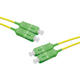 Jarretière optique duplex monomode OS2 9/125 SC-APC/SC-APC jaune - 2 m