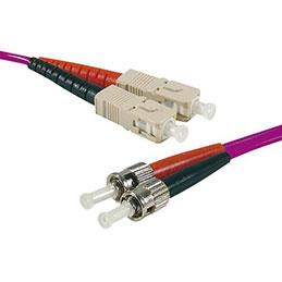 Jarretière optique duplex multimode OM4 50/125 SC-UPC/ST-UPC erika - 2 m