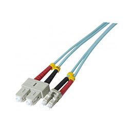 Jarretière optique duplex HD multi OM3 50/125 SC-UPC/LC-UPC aqua - 10 m