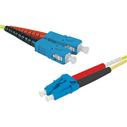 Jarretière optique duplex HD mono OS2 9/125 SC-UPC/LC-UPC jaune - 2 m (photo)