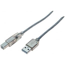 Cordon USB 2.0 type A / B transparent - 1,8 m